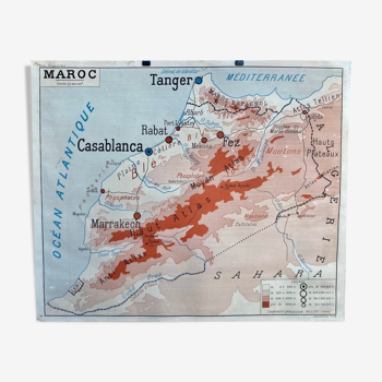 Affiche géographique - maroc - maghreb - rossignol