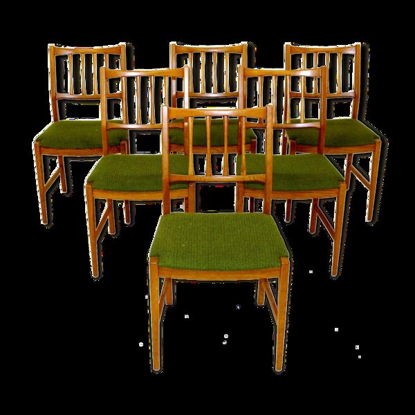 Selency Set de 6 chaises de table en chêne, Suède, 1960
