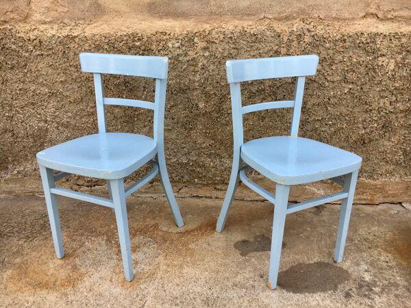 Paire de chaises en bois troquet
