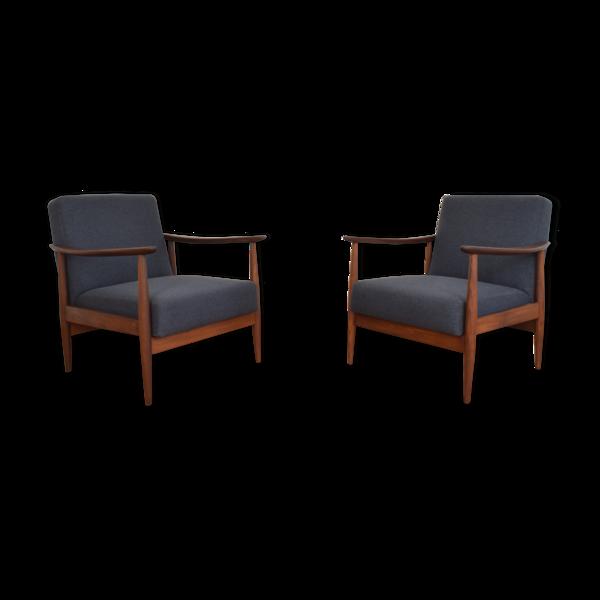 Selency Ensemble de 2 fauteuils danois en teck du milieu du siècle