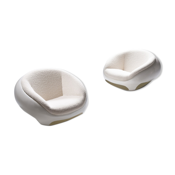 Selency Paire de fauteuils de salon de Mario Sabot en fibre de verre  - 1969