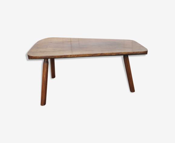Table basse brutaliste bois pied tripode