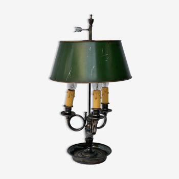 Lampe bouillotte bronze cors de chasse XIX eme 3 bras de lumiere argente
