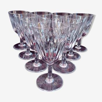 10 verres en cristal de Baccarat, modèle Cassino, années 60