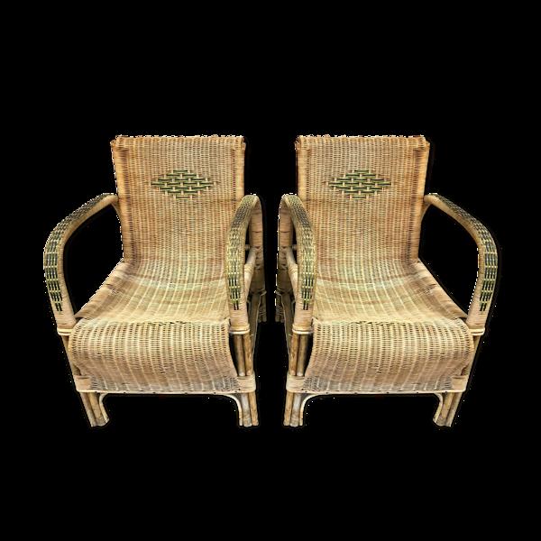 Vintage bohème des années 40  Superbe paire de fauteuils de jardin en rotin  tressés avec des motifs
