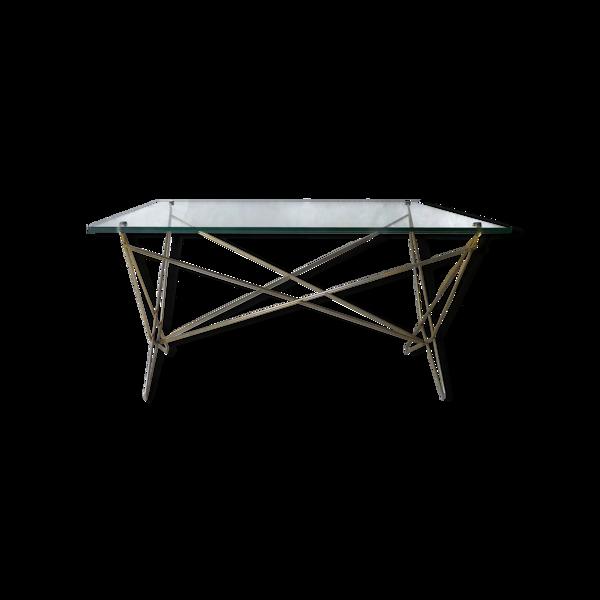 Table basse métal doré plateau verre années 50