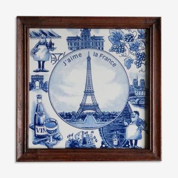 Cadre carreau de céramique J'aime la France