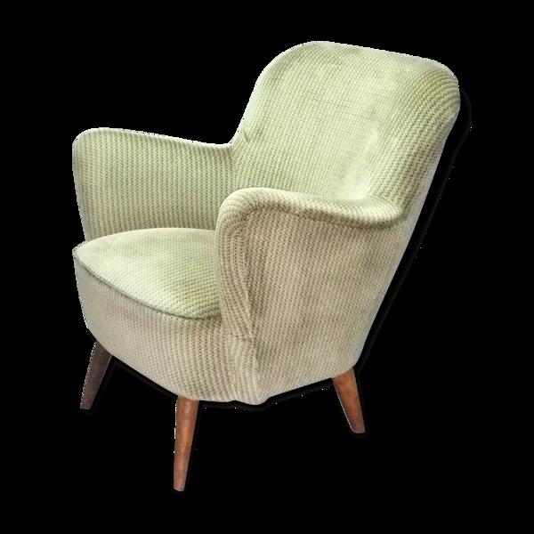 Fauteuil années 50-60 organique vintage vert