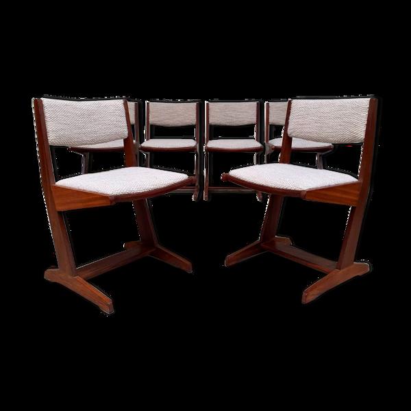Selency Ensemble de six chaises danoises tapissées en cachemire italien