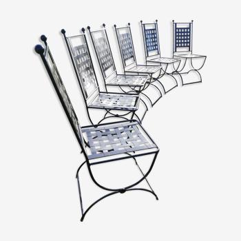 Set de 6 chaises en fer forgé noires