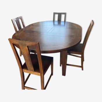 Table 6 à 8 pers + 4 chaises bois exotique Maison Coloniale