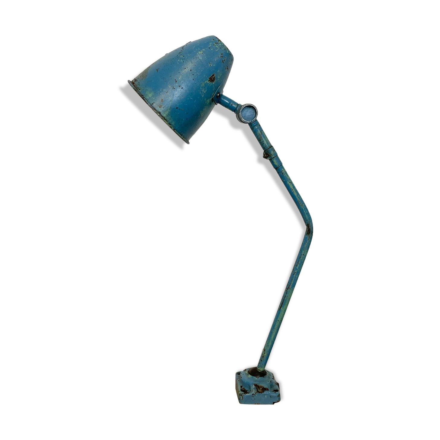 Lampe de table industrielle bleue, années 1960