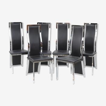 Suite de six chaises en métal chromé et skaï