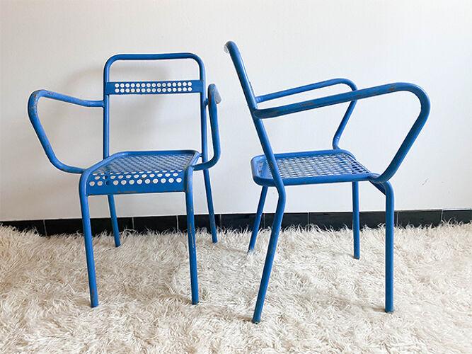 Paire de chaises de jardin metal perforé