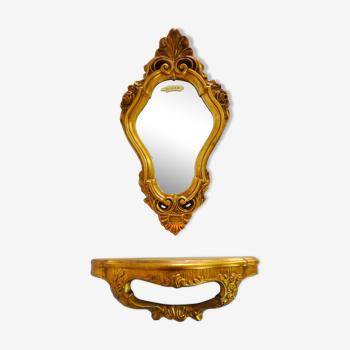 Console et miroir vintage en résine doré à la feuille style Louis XV.  Année 70
