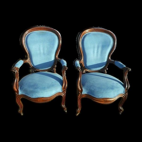 Selency Paire de fauteuils Napoléon lll en acajou