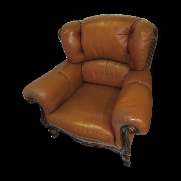 Fauteuil en cuir fauve style Louis XV