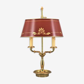 """Lampe bouillotte de style empire, deux lumières, avec abat-jour laqué ovale """"lucien gau """""""