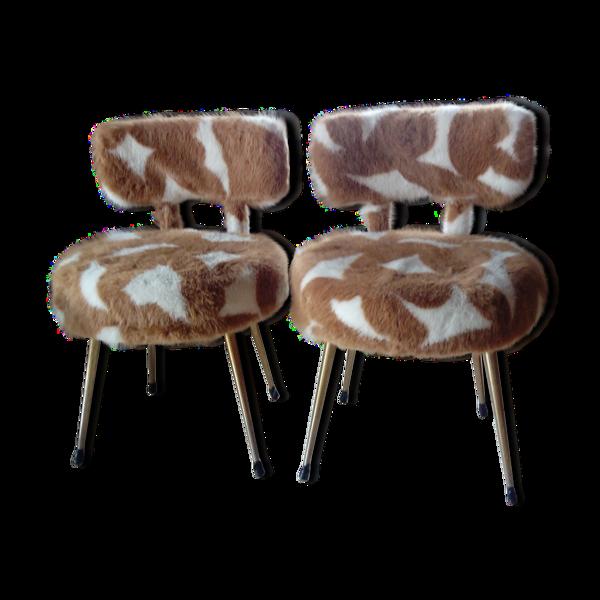 Paire de fauteuils vintage moumoute Pelfran années 60 et 70 (1 lot de 2)