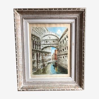 Tableau aquarelle giorgi pont des soupirs Venise