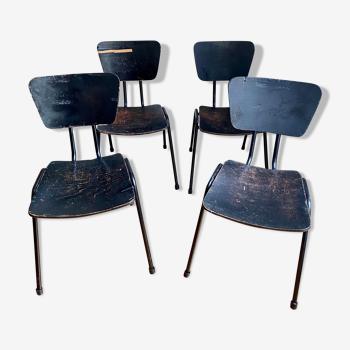 Lot de 4 chaises noires