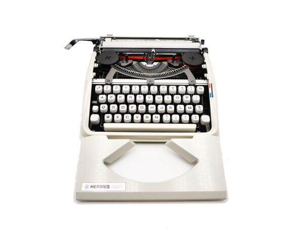 Machine à écrire blanche révisée ruban neuf Hermes baby