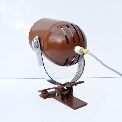Lampe de chevet, montée avec un clip, conçue par S. Indra, Tchécoslovaquie, années 1970