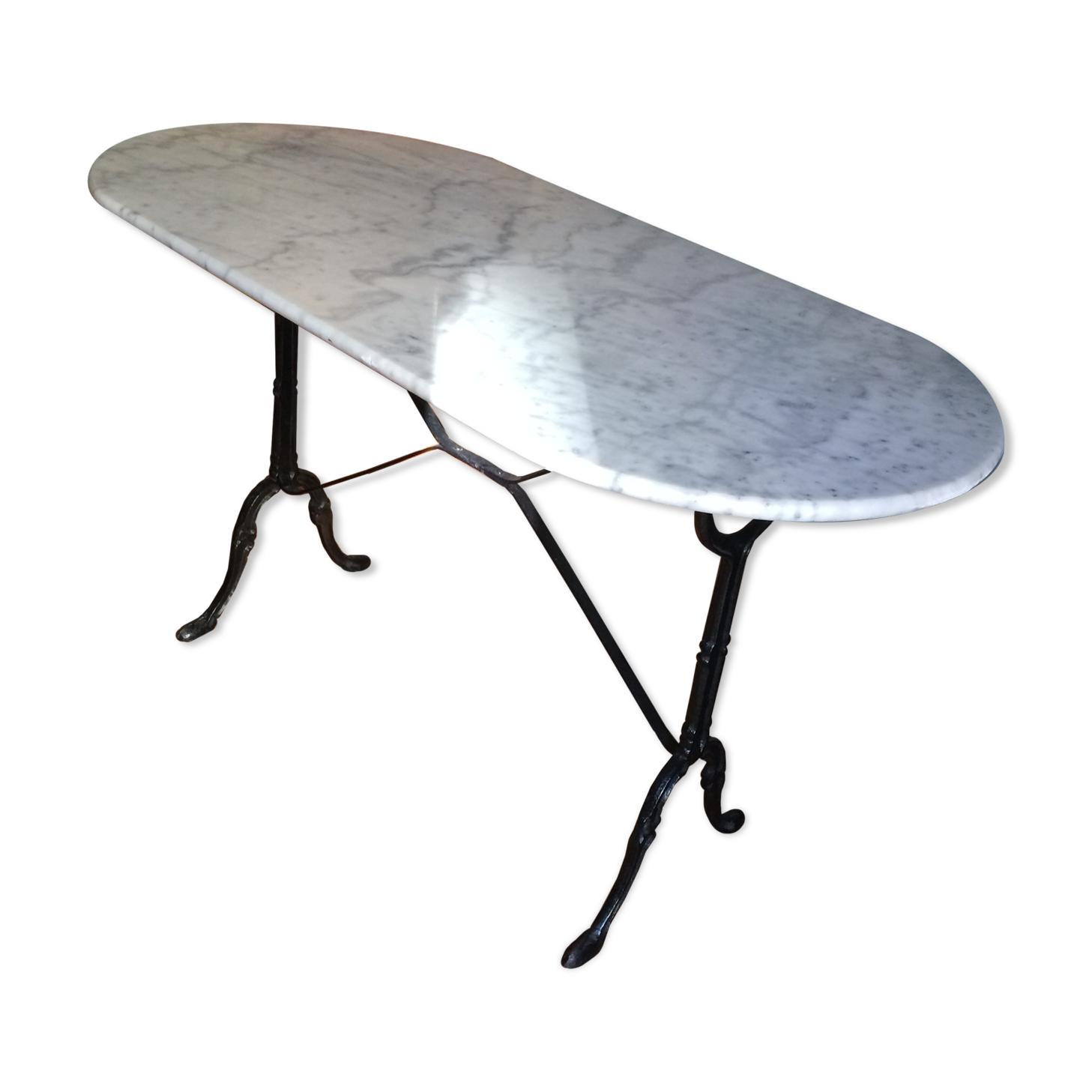 Table bistrot ovale en marbre