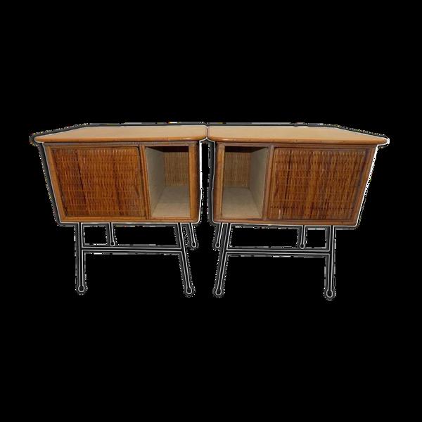 Selency Paire de tables de chevet italienne en osier vers 1960