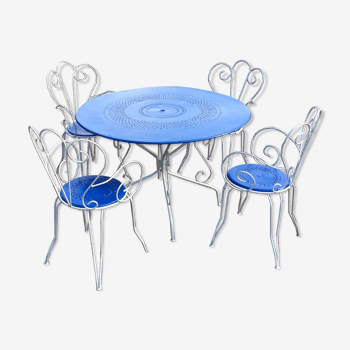 Ensemble Table et fauteuils de jardin blanc bleu