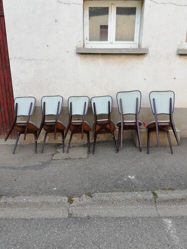 Set de 6 chaises vintage bois et skai gris