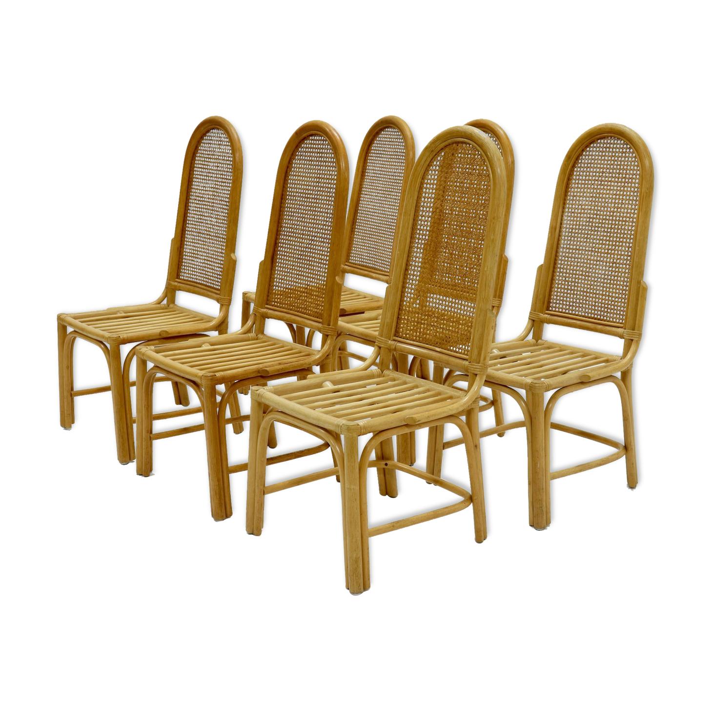 Ensemble de 6 chaises de salle à manger en bambou et sangle des années 1970