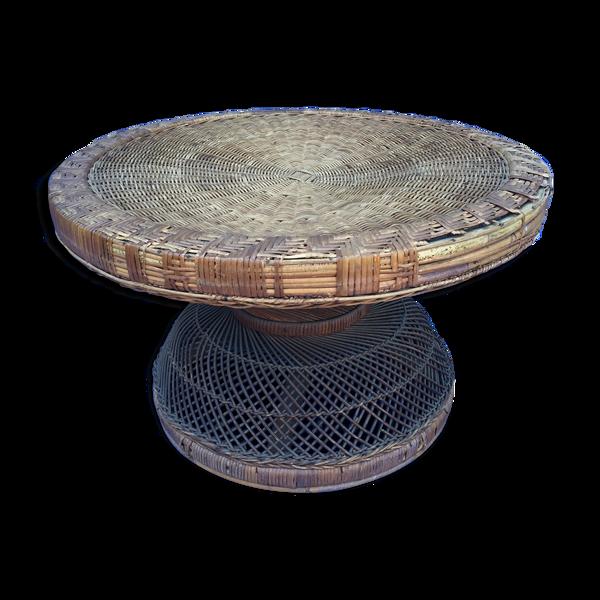 Table basse ronde rotin