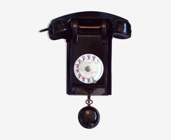 Téléphone à cadran mural vintage en bakélite