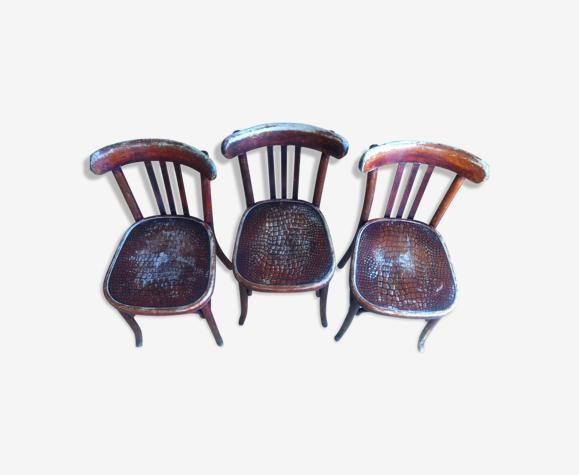 Série de 3 chaises bistrot Fischel des années 30
