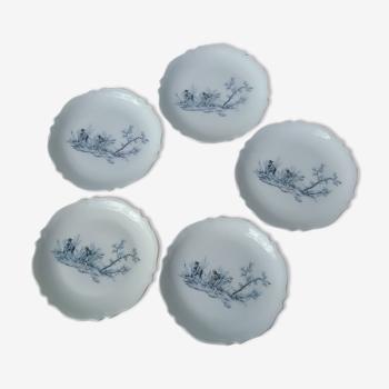 5 coupelles plates en porcelaine de Limoges à décor champêtre