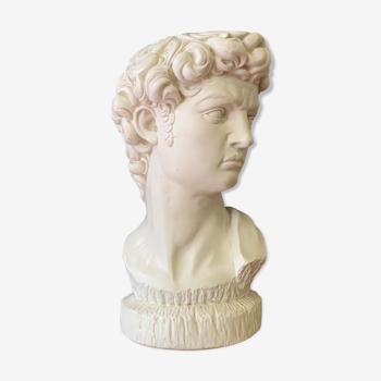 Buste tête de David en plâtre