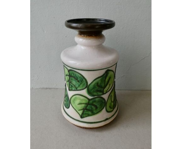 Vase en céramique décor végétal Strehla GDR années 60