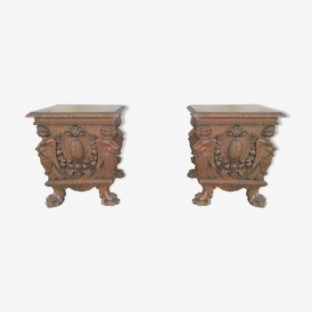 Paire de tabourets style Renaissance 19e