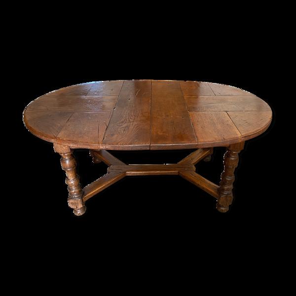 Selency Table ovale en chêne rustique pieds tournés 6 à 12 personnes