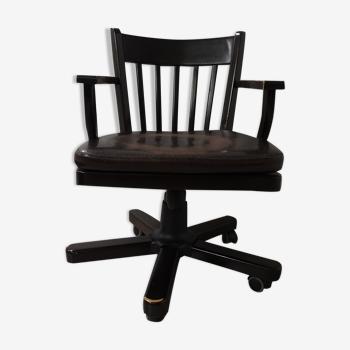 Chaise de bureau en bois du milieu du siècle