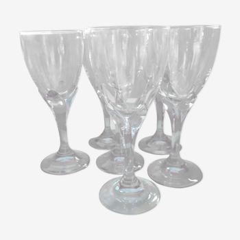 6 verres à pied, moyens bleus verrerie de luxe Bormioli, Rocco
