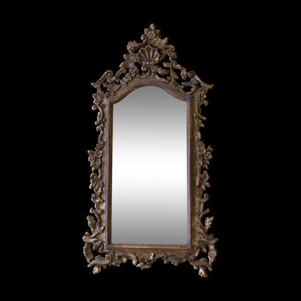 Miroir Italien bois sculpté patiné XIXème 125x65cm