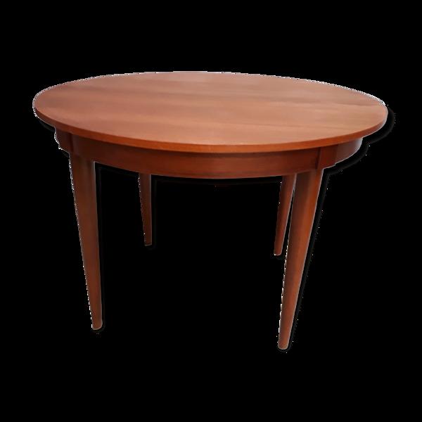 Table scandinave 1970  plaquage teck  ronde 110cm avec sa ralonge papillon 1,55cm