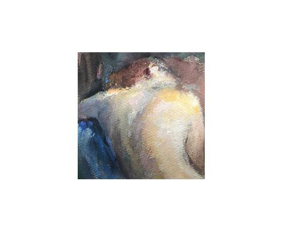 """Tableau """"La femme au fauteuil bleu"""""""