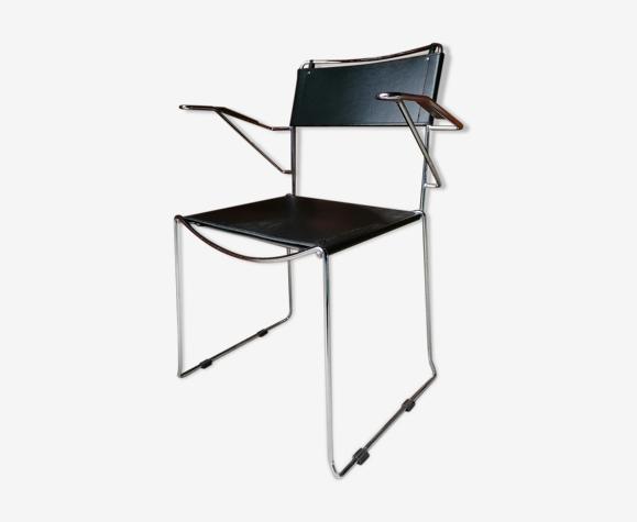 Chaise fauteuil acier chromé cuir Giandomenico Belotti pour Alias Italie 1980