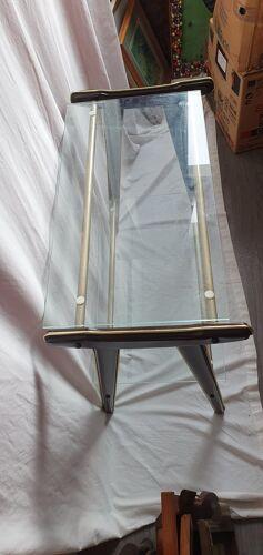 Table d'appoint tv 2 plateaux verre