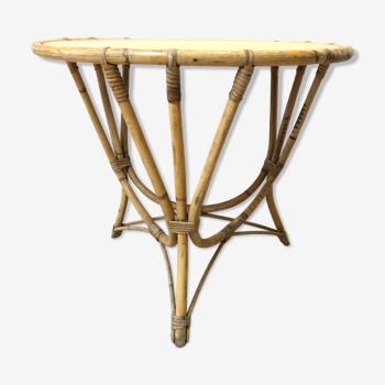 Table basse de jardin en rotin vintage 1960