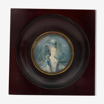 Portrait miniature de Marie-Antoinette cadre miniature en bois teinté, France - XXème siècle