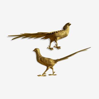 Couple de faisans en bronze doré début XXème